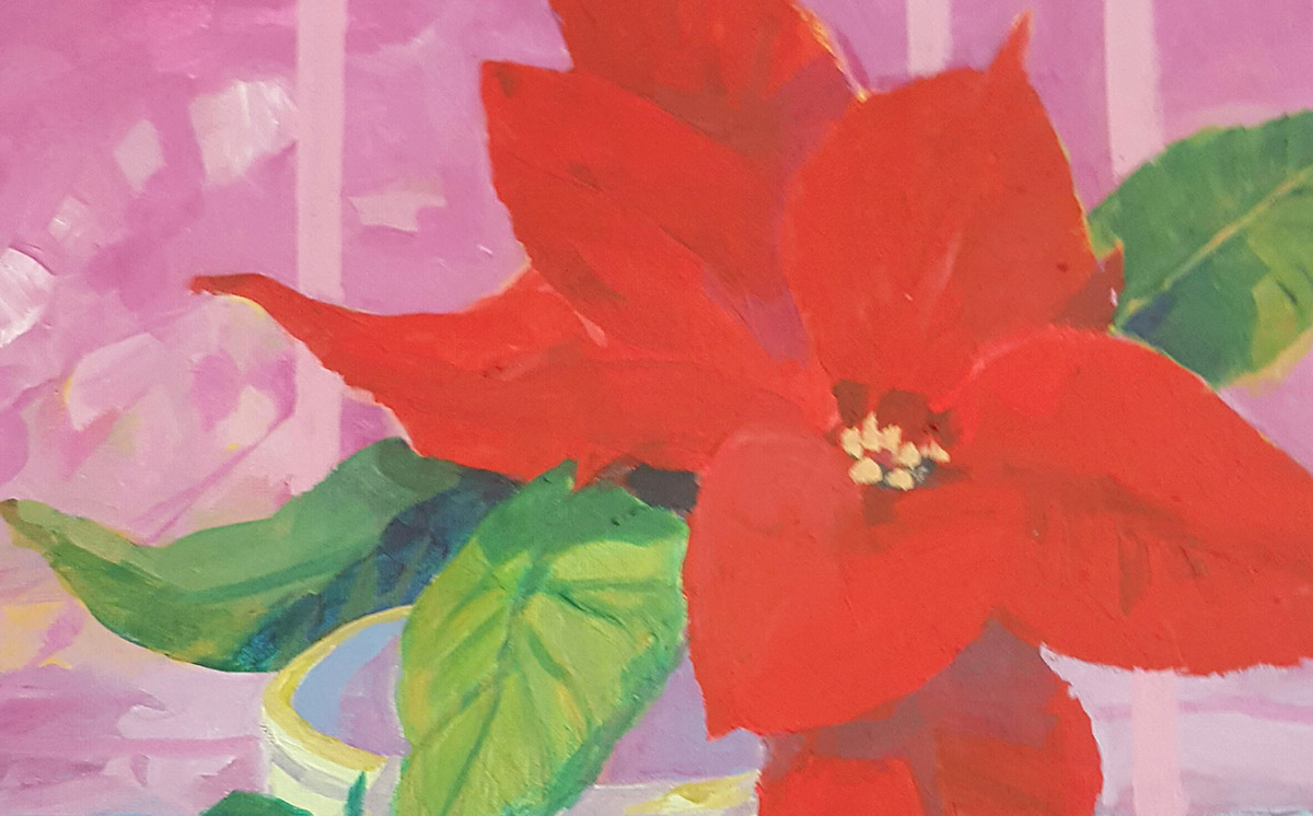 Painting of Poinsettia